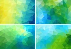蓝色和绿色低多背景,传染媒介集合 免版税库存照片