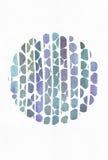 蓝色和紫色例证、根据水彩梯度条纹的凉快的烙记的徒手画的纹理和圆的模板,做用增殖比 免版税图库摄影