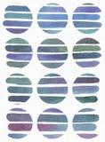 蓝色和紫色例证,冷却和根据水彩在大圈子形状的梯度条纹的烙记的徒手画的纹理 Larg 免版税库存照片