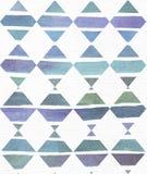 蓝色和紫色例证,冷却和根据水彩在菱形和白色waterco的梯度条纹的烙记的徒手画的纹理 免版税库存图片