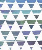 蓝色和紫色例证,冷却和根据水彩在经典等边trian的梯度条纹的烙记的徒手画的纹理 图库摄影