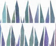 蓝色和紫色例证,根据水彩梯度条纹和长的三角样式冷却和烙记的徒手画的纹理, 免版税库存照片