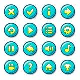 蓝色和黄色圆的按钮 库存图片