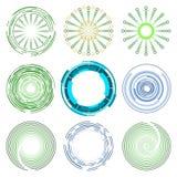 蓝色和绿色圈子形状设计的商标汇集 免版税库存照片