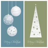 蓝色和绿色圣诞卡背景 免版税库存图片