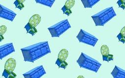 蓝色和绿色扶手椅子和梳妆台样式 免版税图库摄影