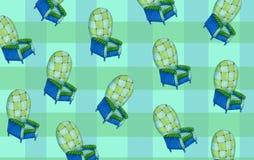 蓝色和绿色扶手椅子样式薄菏颜色 库存照片