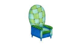 蓝色和绿色扶手椅子 免版税库存图片