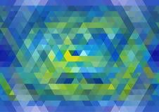 蓝色和黄色无缝的三角样式 几何抽象的背景 免版税库存图片