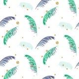 蓝色和绿色棕榈叶白色无缝的传染媒介样式 库存图片