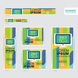 蓝色和黄色横幅广告模板 免版税库存照片