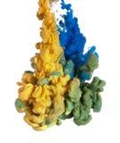 蓝色和黄色油漆 库存照片