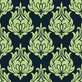 蓝色和绿色葡萄酒花卉无缝的样式 免版税库存图片