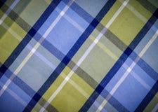 蓝色和绿色被检查的织品 图库摄影
