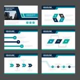 蓝色和绿色介绍模板Infographic元素平的设计为小册子飞行物传单营销广告设置了 库存照片