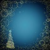 蓝色和gloden圣诞节背景 免版税库存图片