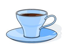 蓝色咖啡杯子板 库存照片