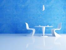 蓝色咖啡空间 库存图片