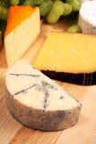 蓝色咸味干乳酪cheeseboard 免版税库存照片