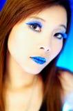 蓝色嘴唇 免版税图库摄影