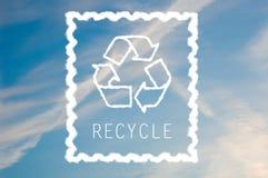 蓝色回收天空符号 免版税库存图片