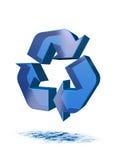 蓝色回收符号水 库存图片