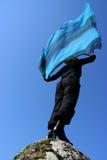 蓝色围巾妇女 免版税库存图片