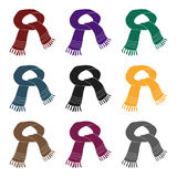 蓝色围巾 脖子的冬天温暖的羊毛围巾 围巾和披肩在黑样式传染媒介标志库存选拔象 图库摄影
