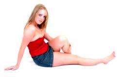 蓝色围腰红色裙子 库存图片