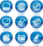 蓝色图标多媒体被设置的向量 库存图片