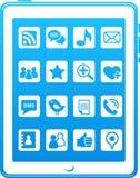 蓝色图标媒体给聪明的社交打电话 图库摄影