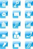 蓝色图标设置了贴纸万维网 免版税图库摄影