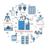 蓝色圆的发酵概念 向量例证