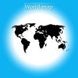 蓝色圆的背景世界地图传染媒介-政治例证 库存例证