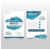 蓝色圈子传染媒介年终报告传单小册子飞行物模板设计,书套布局设计,抽象企业介绍 库存图片