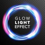 蓝色圈子焕发光线影响传染媒介 漩涡足迹作用 能量光芒条纹 抽象透镜火光 设计元素为 免版税库存图片