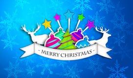 蓝色圣诞快乐加工印刷纸卡片 免版税库存照片