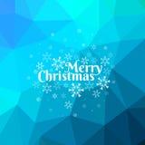 蓝色圣诞快乐卡片有三角背景 免版税图库摄影
