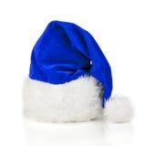 蓝色圣诞老人帽子 库存照片