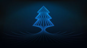 蓝色圣诞节发光的线作为抽象例证的树设计 图库摄影