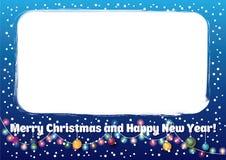 蓝色圣诞节和新年框架 免版税库存照片