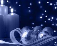 蓝色圣诞节夜间 免版税库存照片