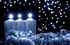 蓝色圣诞节夜间 免版税库存图片