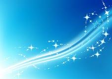 蓝色圣诞节成螺旋形星形 免版税库存照片