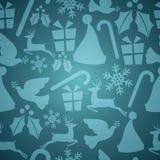 蓝色圣诞节无缝的模式 免版税库存照片