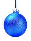 蓝色圣诞节玩具球 免版税库存照片