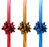 蓝色圣诞节礼品金子红色丝带 免版税库存图片