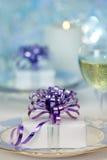 蓝色圣诞节礼物设置 免版税库存照片