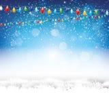 蓝色圣诞节背景 向量例证