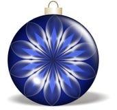 蓝色圣诞节花装饰品 库存照片